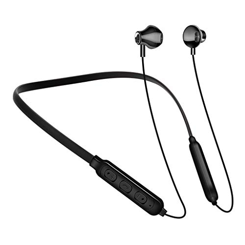 LQIAN G02 Kabellosen Bluetooth Kopfhörer Kompatibel mit In-Ear-Kopfhörer mit Mikrofon Portable HiFi Blueteeth V4.2, 6 Stunden Spielzeit und Mikrofon Schwarz Rot Weiß (Schwarz)