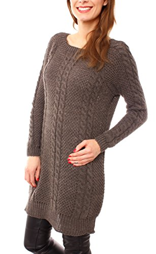 Easy Young Fashion Damen Grobstrick Longpullover Zopfmuster One Size Coffee