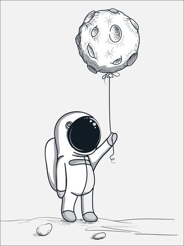 Unbekannt Alu Dibond 90 x 120 cm: Moon Balloon von Kidz Collection/Editors Choice
