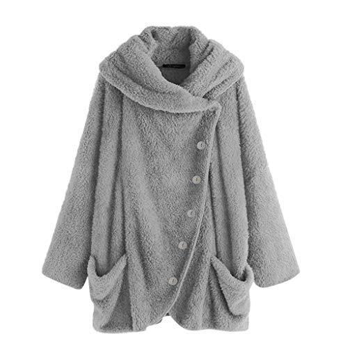 iHENGH Damen Herbst Winter Bequem Mantel Lässig Mode Jacke Mode Frauen Knopf Mantel Flauschige Schwanz Tops Mit Kapuze Pullover Lose Pullover(Grau-2, M)