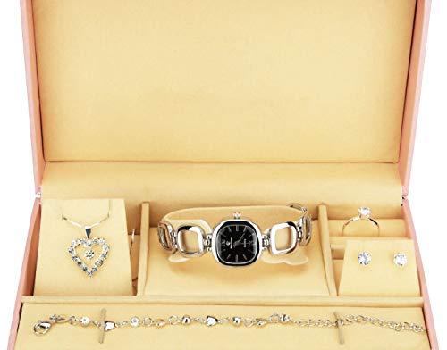 Geschenkset Damen Armbanduhr Schwarz Silber- Schmuck Set- Halskette-Ring- Ohrringe - Armband