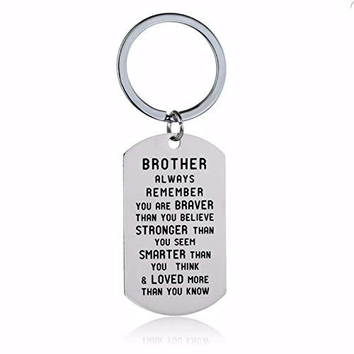 Amody Edelstahl Schlüsselanhänger Silber graviert Brother/Sister Remember You Are Brave für FrauenSchlüsselanhänger Geschenke
