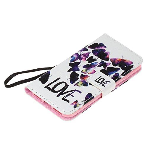 iPhone 7 Hülle,iPhone 7 case vintage ledertasche, Handy Schutzhülle für Apple iphone 7(4.7 Zoll) Hülle Leder Wallet Tasche Flip Brieftasche Etui Schale (+Staubstecker) (8) 6