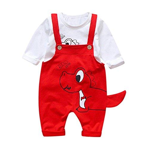 Baby Kleidung Set, 2PCS Kleinkind Baby Jungen Mädchen Cartoon Dinosaurier Tops Hosenträger Hosen Outfits Set Langarm Herbst Winter Hoch Qualität Materialien Promotionen (Rot, 0-12Monate) - Marke Baby-mädchen Kleidung,