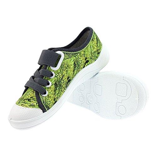 Gallux - Kinder Jungen Hausschuhe coole Sneaker Grün
