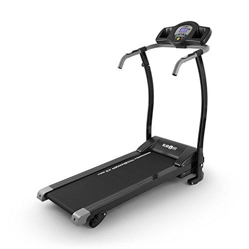 klarfit pacemaker x3 tapis roulant velocità: 0,8-12 km/h computer di allenamento display lcd 12 programmi misuratore di impulsi angolo di inclinazione: 3%, 5% nero