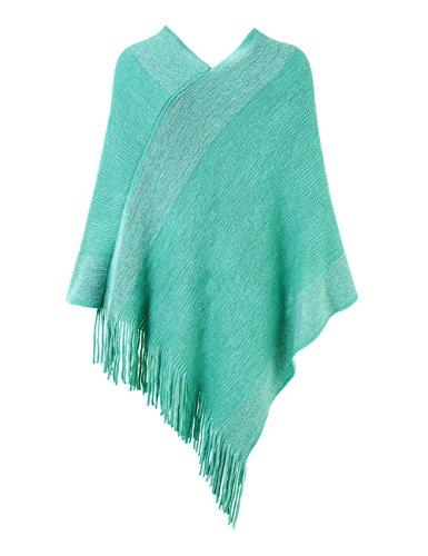 Ferand stylischer gestrickter Poncho Pullover mit Streifen, V-Ausschnittund Fransen für Frauen Grün