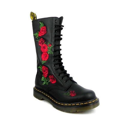 5d40ba3e1d9 Bottes hautes en cuir souple Dr Martens Vonda - Motif floral - Pour femme -  14