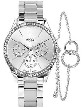 Lucardi - Regal - Regal-Geschenk-Set mit kostenlosem Armband für Damen - Edelstahl