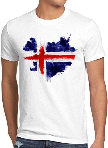 CottonCloud Flagge Island Herren T-Shirt Fußball Sport Iceland WM EM Fahne, Größe:M, Farbe:Weiß