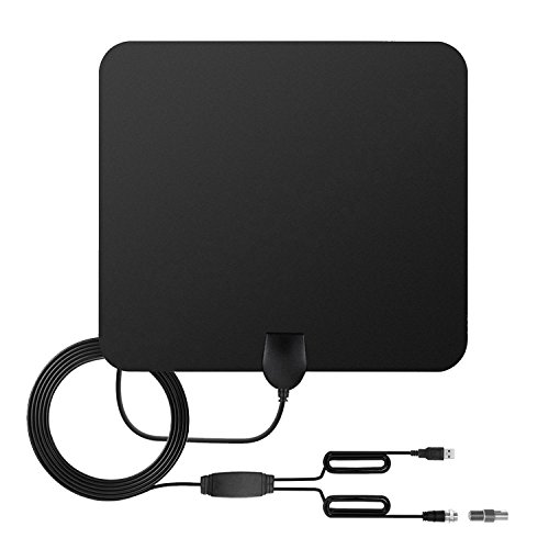 TOOGOO TV Antenne Indoor HD Digital TV Antenne mit 80 Meilen Long Range Verstaerker HDTV Signal Booster Verbesserte Version-10ft Koaxialkabel-schwarz