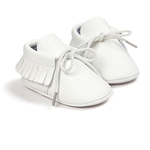 Saingace Krabbelschuhe,Baby-Krippe-Troddel-Verband-weiche Sole-Schuh-Kleinkind-Turnschuhe beiläufige Schuhe Weiß