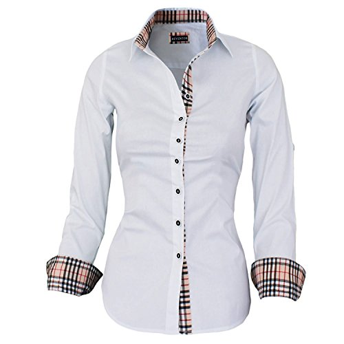 Damen Hemdbluse Weiß Langarm von HEVENTON® - Größe 36 bis 50 - ÜBERGRÖßE - Bluse aus hochwertiger Baumwolle Color Weiß, Size 48