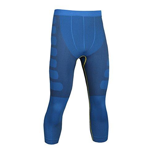 Rmine Herren Thermo Funktionsunterwäsche Seamless3/4 Leggings Schnelltrocknend Kompressionshose (L, Blau)