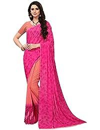 Mrinalika Fashion Women's Georgette Saree With Blouse Piece (Pink_Free Size)