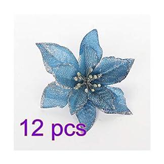 LAMF – 12 Adornos para árbol de Navidad con Purpurina para árbol de Navidad, Azul, 13 cm