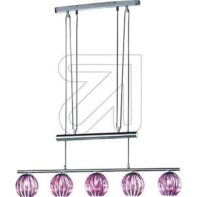 Trio-Leuchten 344010592 JoJo-Pendelleuchte in Chrom, Acrylstäbe purple, inklusive 5xG9 28W ECO Leuchtmittel, Breite 85 cm, max. Länge 200 cm von Trio Leuchten bei Lampenhans.de