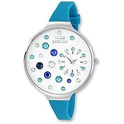 Think Positive Women's Watch Stardust Analogue Silicone Bracelet Turquoise Quartz UTP1049T