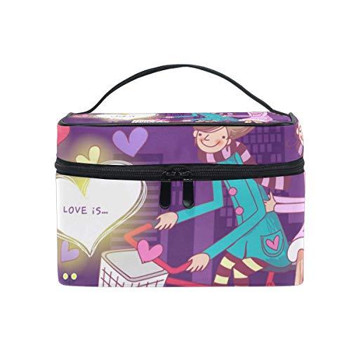 Tragbare hängende Make-up Kosmetiktasche Tasche,Travel Cosmetic Bag Valentine's Day Heart Bike City Toiletry Makeup Bag Pouch Tote Case Organizer Storage for Women Girls -