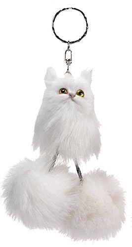 GKA süsser Fuchsschwanz Katze mit Schlenkerbeinen Anhänger Schlüsselanhänger Kunstfell Fell (weiß)