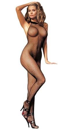 Sexy Petite fishnet body stocking - very sexy quality black classic full length bodystocking, small mesh fishnet, lace halter neck, fits UK4- UK12