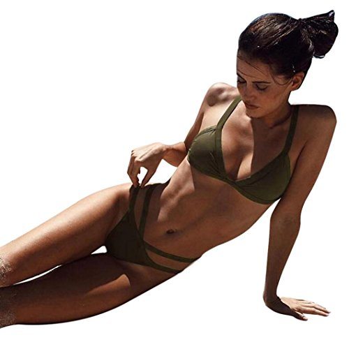 Damen Bikini Set Frauen Push-Up gepolsterte BH Strand Bikini Set Badeanzug Bademode Armee-Grün