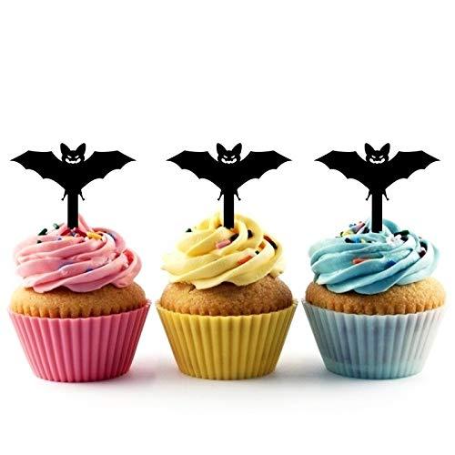 Innovedesire Halloween Flying Bat Kuchenaufsätze Hochzeit Geburtsta Acryl Dekor Cupcake Kuchen Topper Stand für Kuchen Party Dekoration 10 Stück