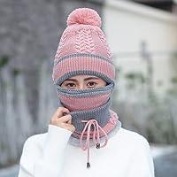 Wenxin0815 Winter Hat Weibliche Strickmütze Warme Mütze Winddicht Maske Dicken Schal Mütze Cap Tab, M (56-58 Cm), Twist-Pink
