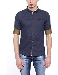 SHOWOFF Men's Slim Fit Casual Blue Solid Shirt_AshLinen_Blue