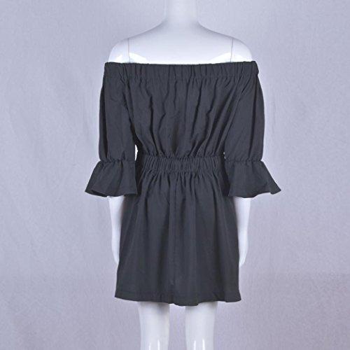 OverDose Damen Frauen Aufflackern Hülse weg vom Schulter Bluse Tops T-shirts Feiertags Kleid Sommer Kleid Schwarz