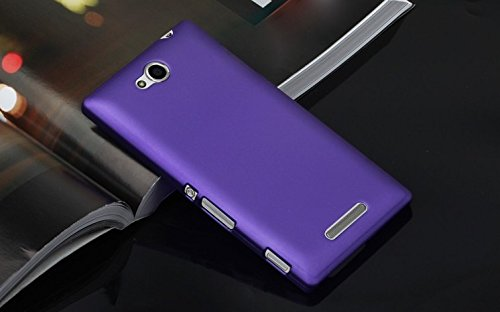Generic Rubberised Hard Case Back Cover for SONY XPERIA C - PURPLE