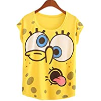 Spongebob Print Thin Style T-Shirt For Women - Yellow