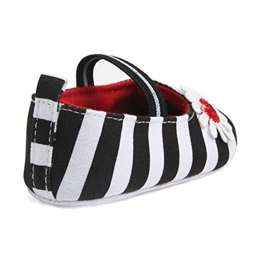 BZLine® Baby Stripe Blume Schuhe Soft Sole Kids Mädchen Baby Anti-Rutsch Shoes Schwarz