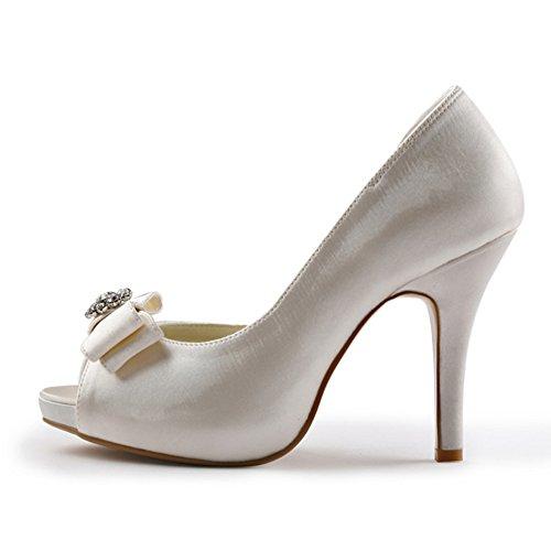 ElegantPark EP11045-IP Escarpins noeud Femme Chaussures de mariee mariage soiree Ivoire