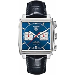 TAG Heuer Men's Monaco Calibre 12 39mm Black Leather Band Steel Case Automatic Analog Watch CAW2111.FC6183