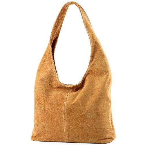 Borsa a mano borsa a tracolla shopping bag donna in vera pelle italiana T02 Camel