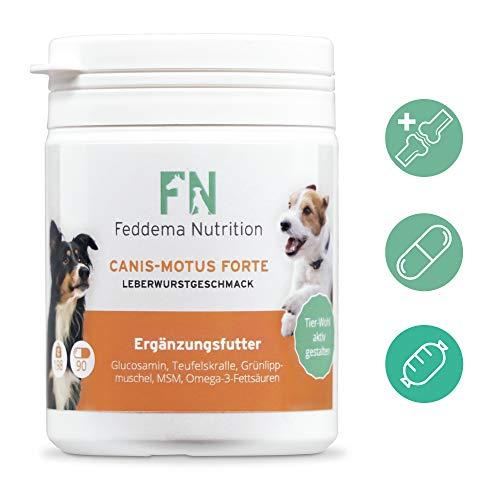 Feddema Canis-Motus Forte Leberwurst – Hunde-Ergänzungsfutter für Knorpel und Gelenke mit bis zu 3-mal mehr* Glucosamin, Teufelskralle, Grünlippmuschel, MSM