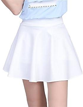 Mujer Cintura Alta Color Sólido Elasticidad A-Línea Falda Plisada Mini Con Pantalones De Seguridad
