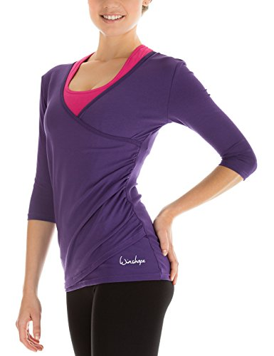 Winshape Damen 3/4-arm Shirt in Wickeloptik Fitness Yoga Pilates Freizeit, dunkel lila, XL