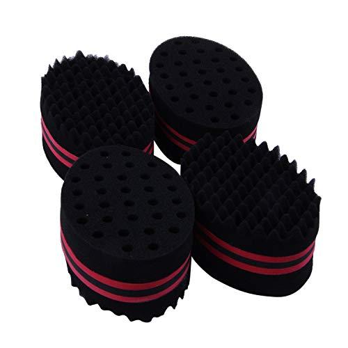 TOOGOO Lot de 4 brosse a cheveux eponge Twist Vague Coiffeur Outil Pour Dreads Afro Locs Twist frisage Noir