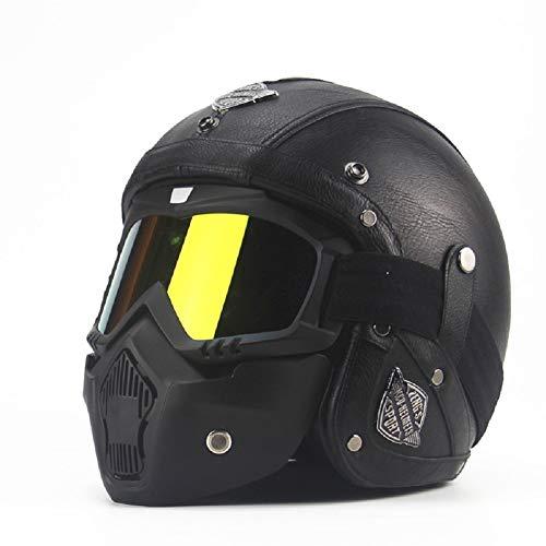 Peng Fang Harley Caschi da moto Mezza caschi Chopper Casco da bici PU Leather Open Face Casco moto vintage con maschera di protezione (M, nero)