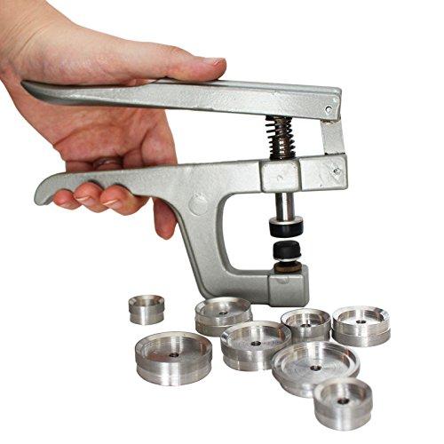 Set Pinzas Botones de Presión de Metal con 9 Tapas por Kurtzy - Multi-Herramienta Resistente - Para Botones de Presión de Plástico y Fondos de Relojes - Máquina de Alta Calidad y Kit de Tapas