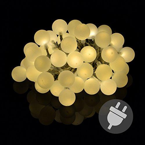 Nipach GmbH LED Partylichterkette Partybeleuchtung Lichterkette für Weihnachten Hochzeit – 50 Leuchtkugeln mit Trafo – Innen & außen – warm-weiß Ø 2,5 cm