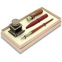 BORTOLETTI Set de Escritura del sello de madera de la pluma con tinta electrónica en bronce Línea Signum