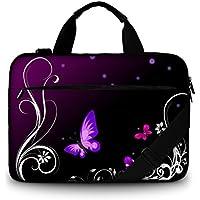 Luxburg®-Bolso acolchado con bandolera para ordenador portátil, bolsa de hombro multifuncional mariposas moradas 15,6 pouces