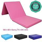 CCLIFE 180x60x5cm Tapis de Gymnastique Epais - Matelas Gymnastique - Tapis Sol Gymnastique - Tapis Gymnastique Pliable, Couleur:Rose