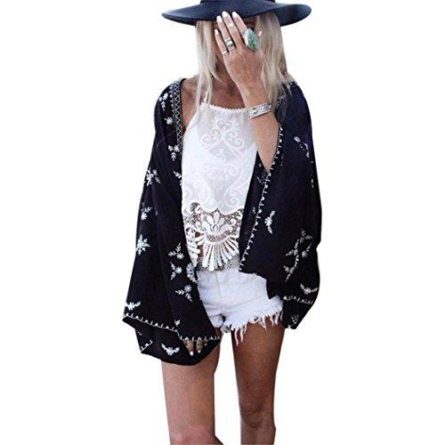 Homebaby® copricostume mare cardigan donna estivo scialle elegante - chiffon costume da bagno sexy - kimono vestito lungo estate boho tunica etnica abito da spiaggia (libero, nero)
