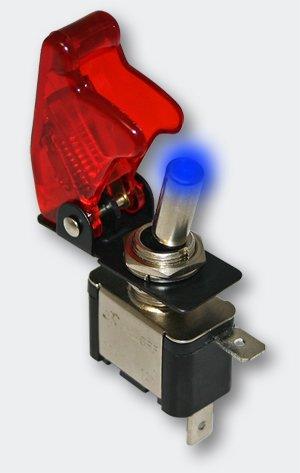 Preisvergleich Produktbild Kill Switch Kippschalter für 12 V 20 A mit blauer LED und roter Kappe