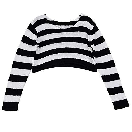 HET Damen Gestricktes Sweatshirt Mode Mittelhohe Oberteile Streifen Slim Fit Langarm Strickpullover Ernte Bluse Pullover -