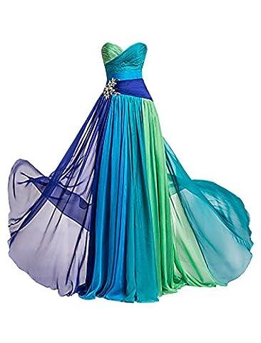 Missydress Robe colorée en mousseline de soie sans manches pour femme Idéale pour demoiselle d'honneur/soirée/fête/bal Taille décorée de perles - - 42